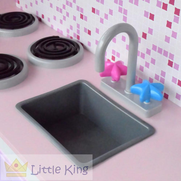 Wooden Kitchen Play Set with Fridge - Pink