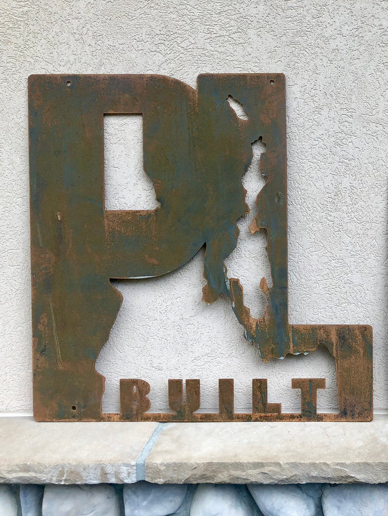 "Rusted Metal Large PL Built Sign 30""x 30"""