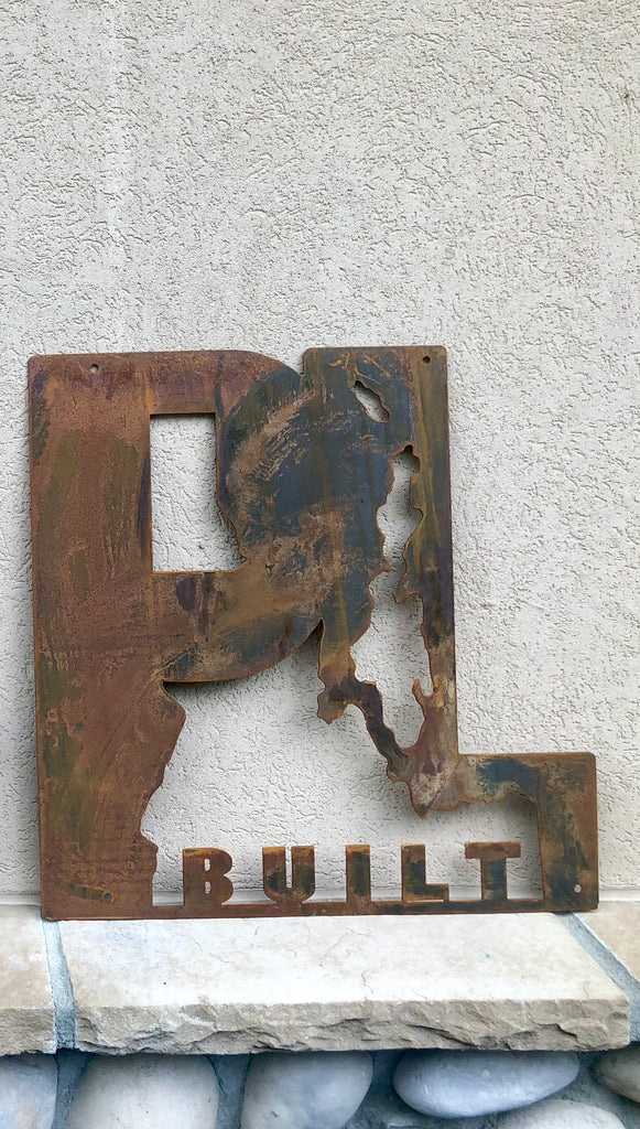 "Small Rusted Metal PL Built Sign 22"" x 22"""