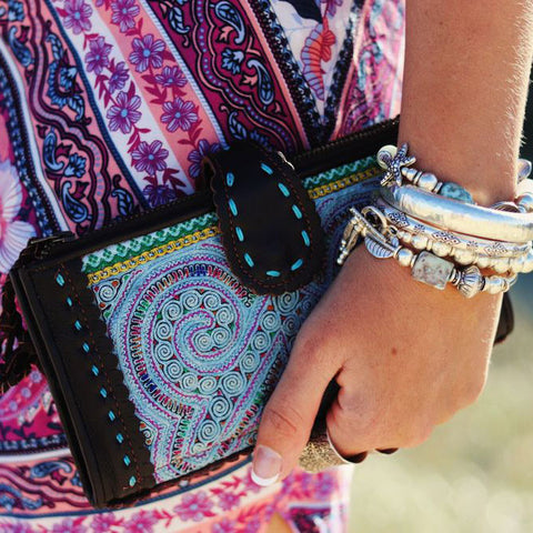 LEATHER & HMONG FABRIC WALLETS