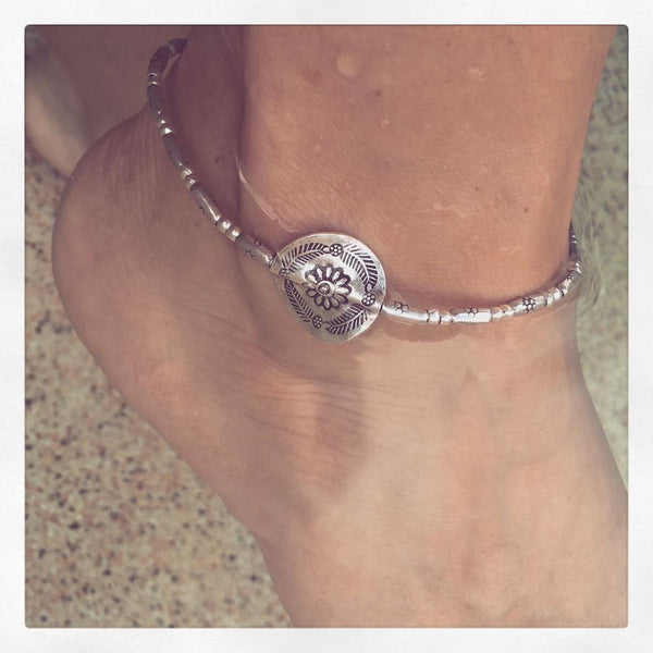 HILL TRIBE SILVER FLOWER ANKLET