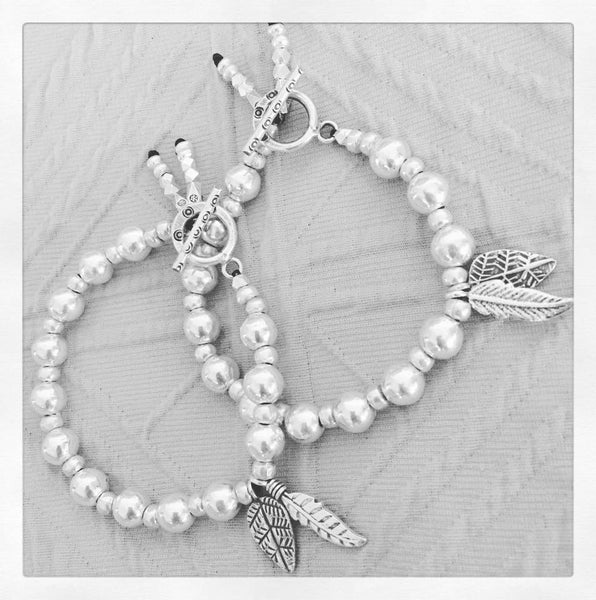 PEACE FEATHER & LEAF BRACELET