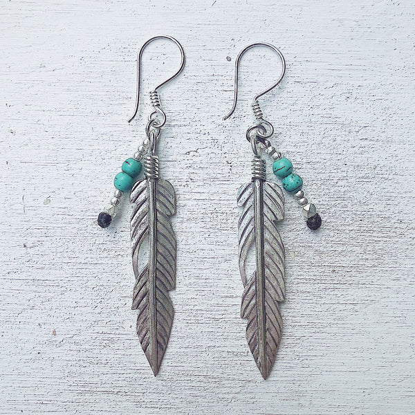 TURQUOISE PEACE FEATHER EARRINGS