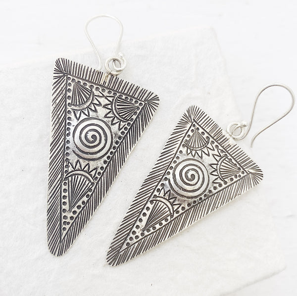 TRIBAL SILVER SUN EARRINGS