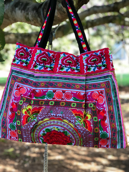 LARGE TRIBAL COTTON OVERNIGHT BAG
