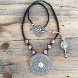 PINK SUN MANDALA NECKLACE