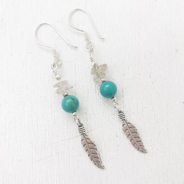 SMOKEY QUARTZ & TURQUOISE EARRINGS