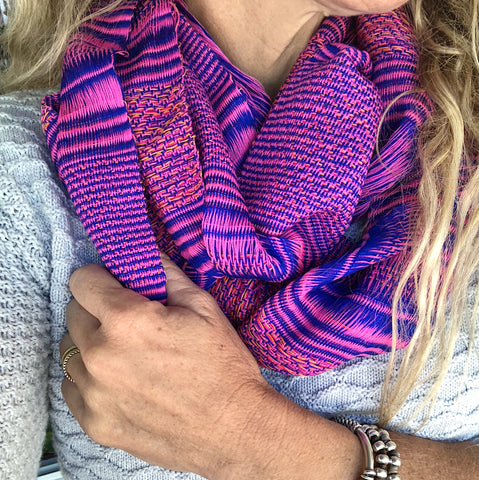 TRADITIONAL KAREN SCARF-BRIGHT PINK/BLUE