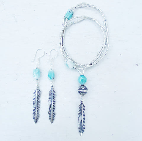 NATURES REFLECTION NECKLACE AND EARRINGS SET