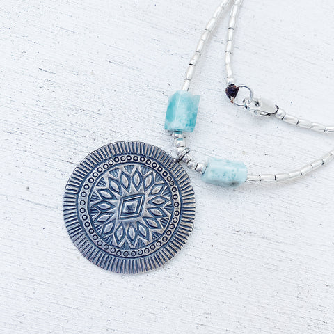 LARIMAR DIAMOND SUN NECKLACE