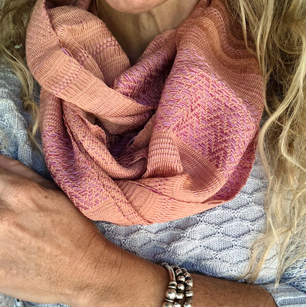 "COTTON TRADITIONAL ""KAREN HILL TRIBE"" SCARF- PEACH/PINK"