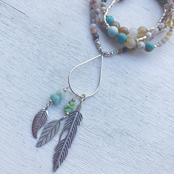 BLUE LAGOON HEALING GEMSTONE NECKLACE