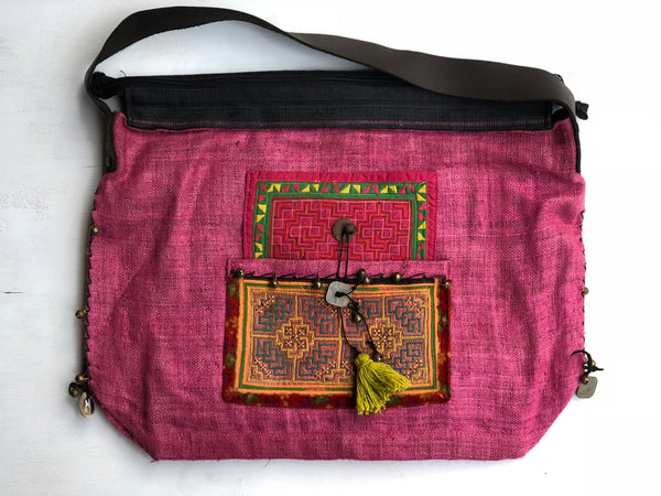 PINK HESSIAN TRIBAL HANDBAG WITH LEATHER STRAPS