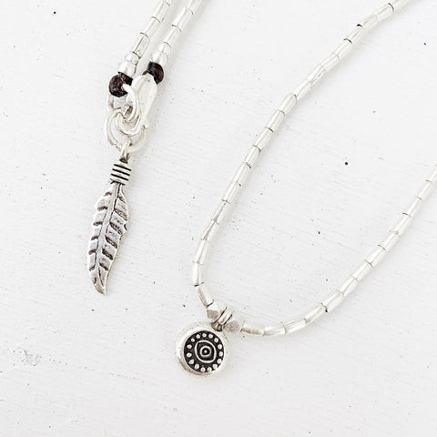 EVIL EYE AND PEACE FEATHER PROTECTION  NECKLACE
