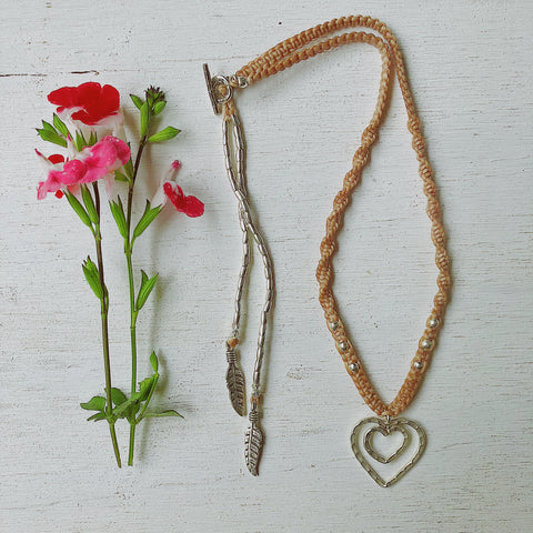 LOVE & PEACE MACRAME NECKLACE