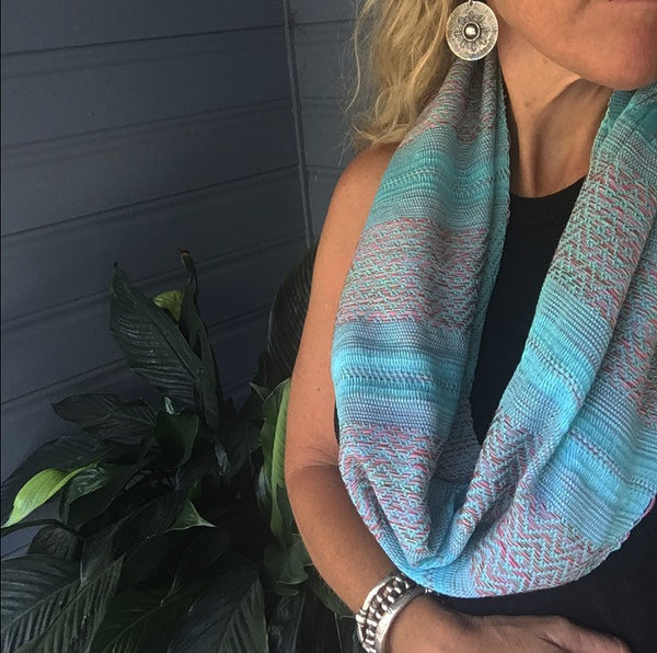 "100% COTTON TRADITIONAL ""KAREN HILL TRIBE"" SCARF - AQUA"
