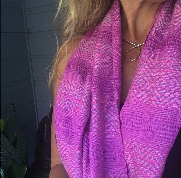 100% COTTON TRADITIONAL KAREN SCARF- LIGHT PURPLE