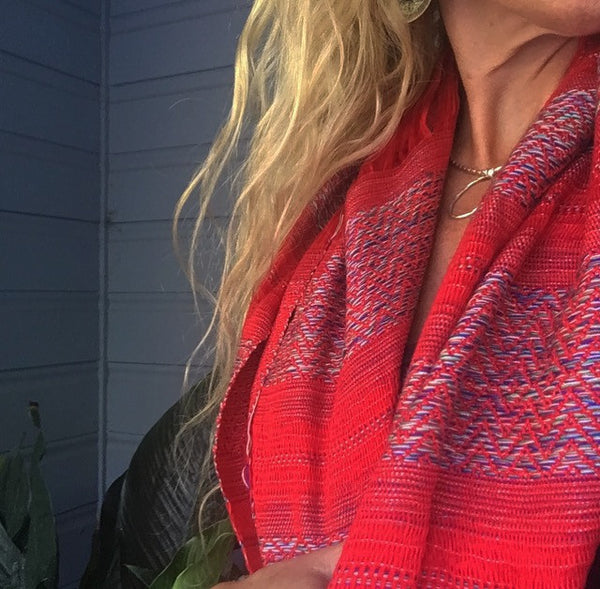 "100% COTTON TRADITIONAL ""KAREN HILL TRIBE"" SCARF - RED"