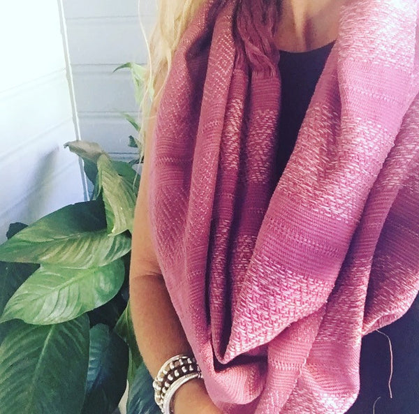"100% COTTON TRADITIONAL ""KAREN HILL TRIBE"" SCARF - DUSKY DEEP PINK"