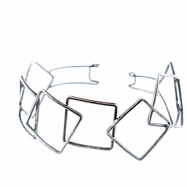 silver Bracelet - Overlapping Square