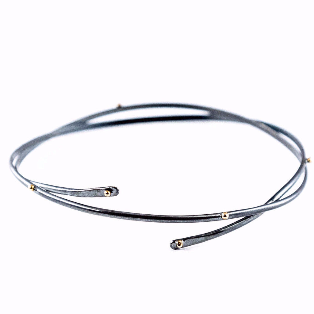 silver with gold bracelat - Snake Bangle