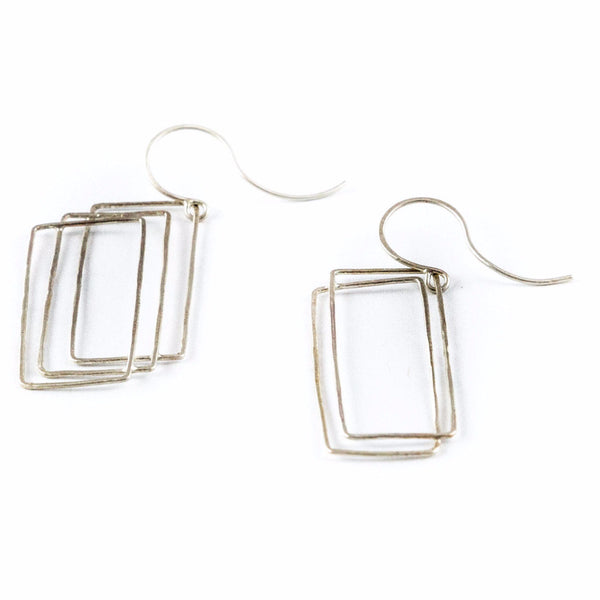 silver earrings - Asymetric Rectangle Earring