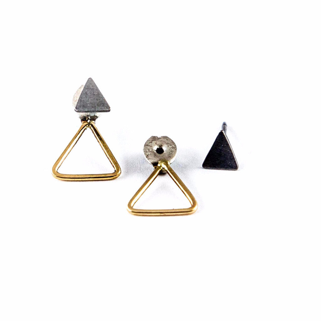 Gold and Silver Earring - Triangles Jacket