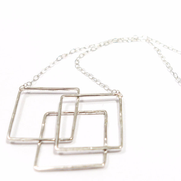 silver Necklace - Balance Squares