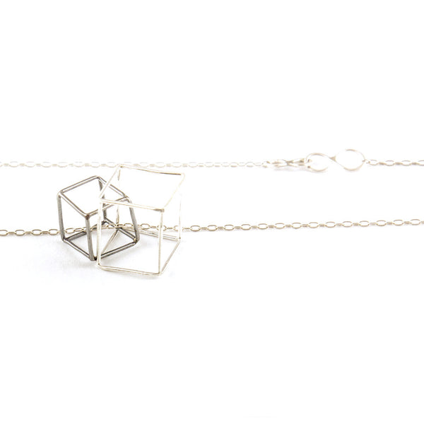 silver Necklace - Intertwined Cubes