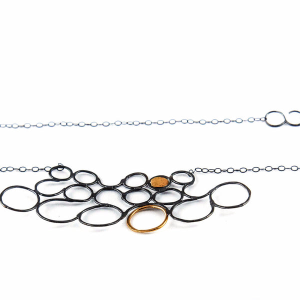 silver and gold Necklace - Circles