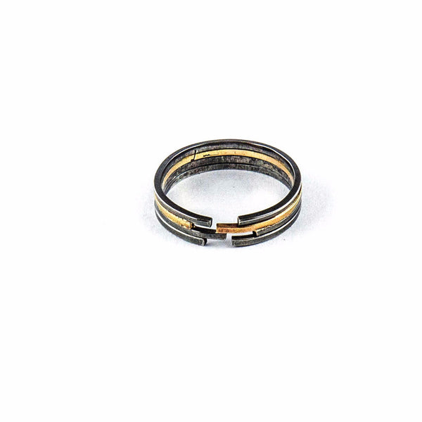silver and gold ring - Architecture Mixed Lines