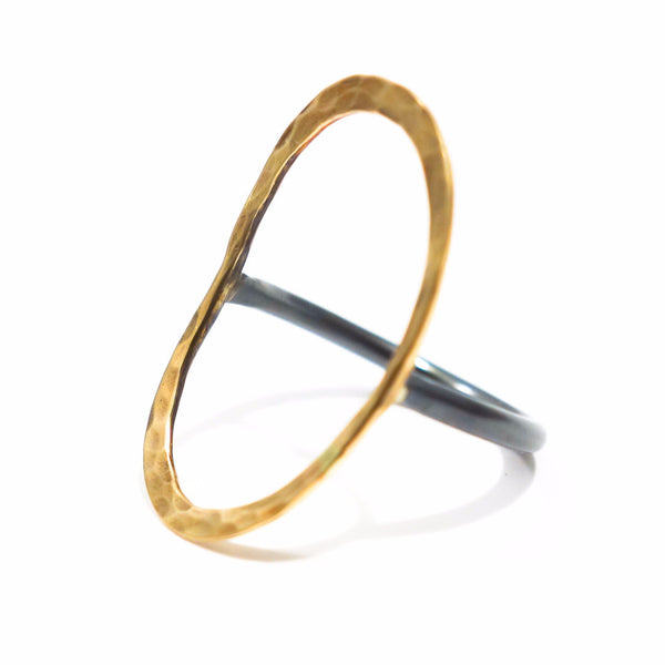 silver and gold Ring - Oval
