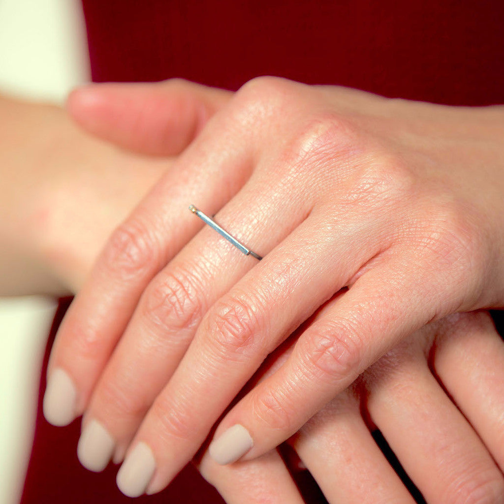 silver ring with gold - Bar and Gold Dot