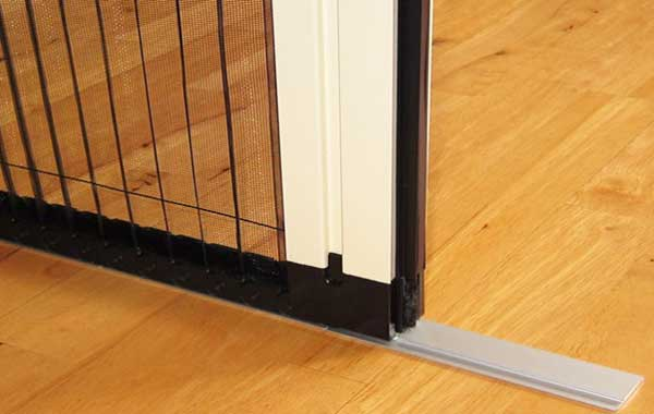 Flush floor track for Retractable Insect Screens