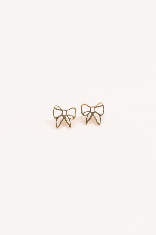 Bow Outline Earrings- Gold