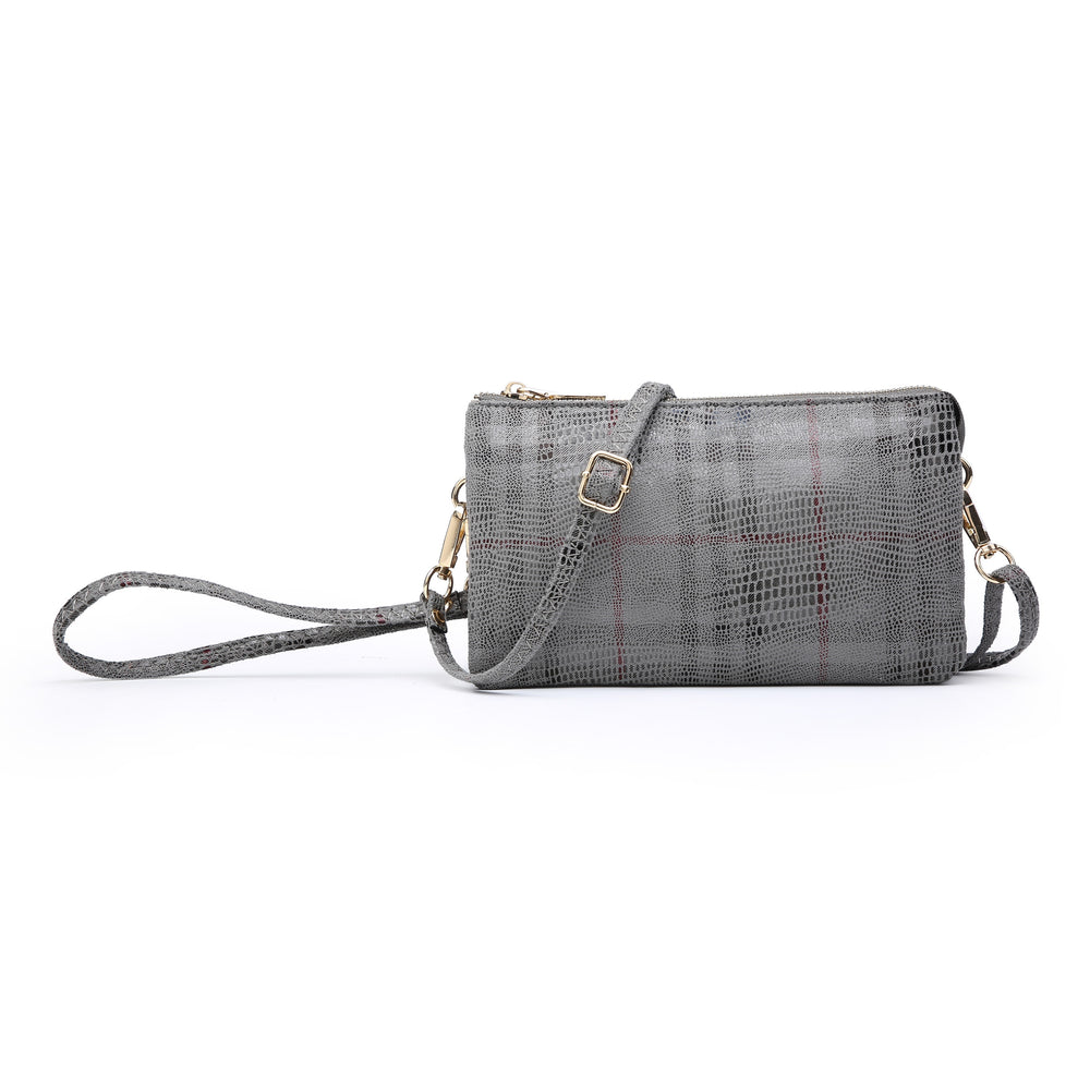 Riley Wristlet Crossbody- Grey Plaid