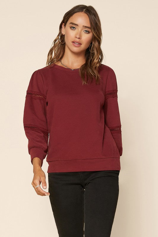 Over Here Sweater- Burgundy