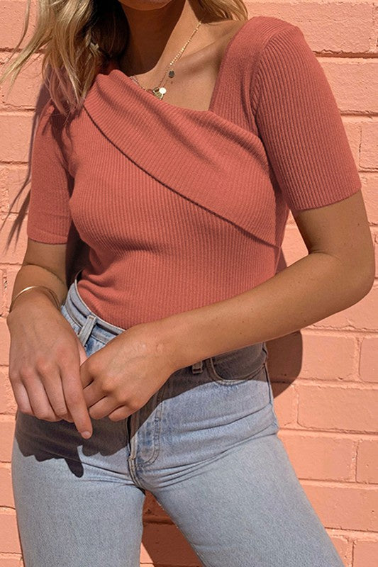 Angela Knit Top-Brick