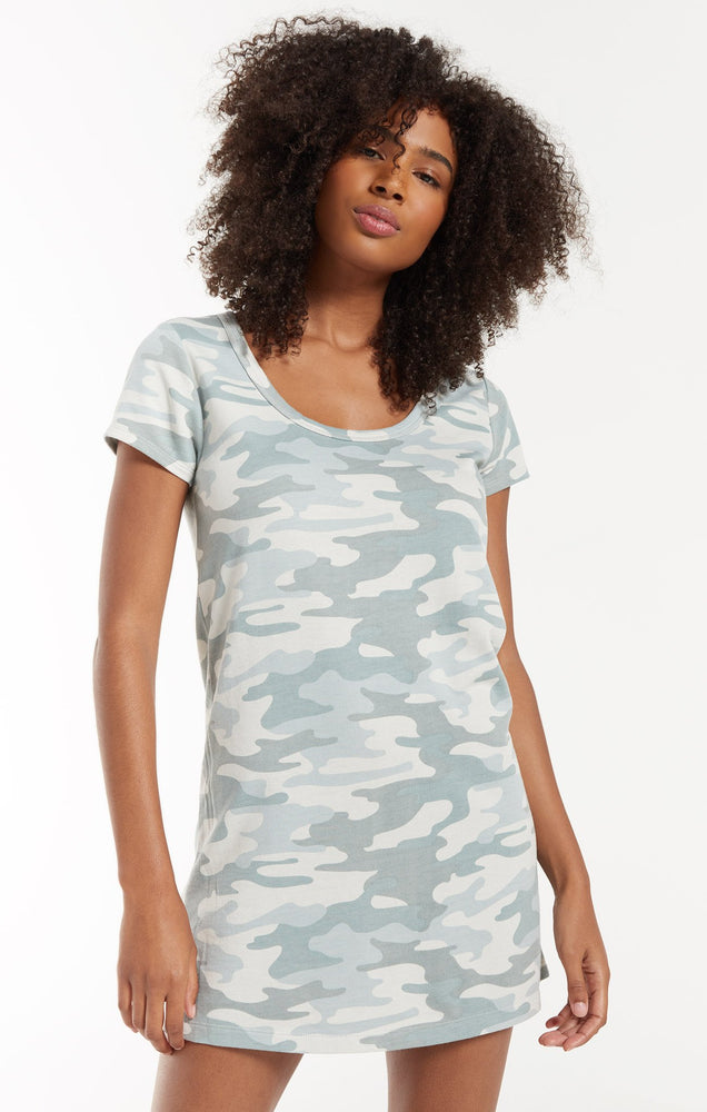 Payton Camo Tee Dress- Dusty Sage