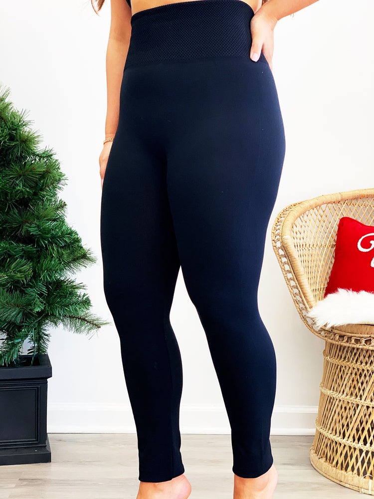 Tummy Control Fleece Lined Leggings- One Size