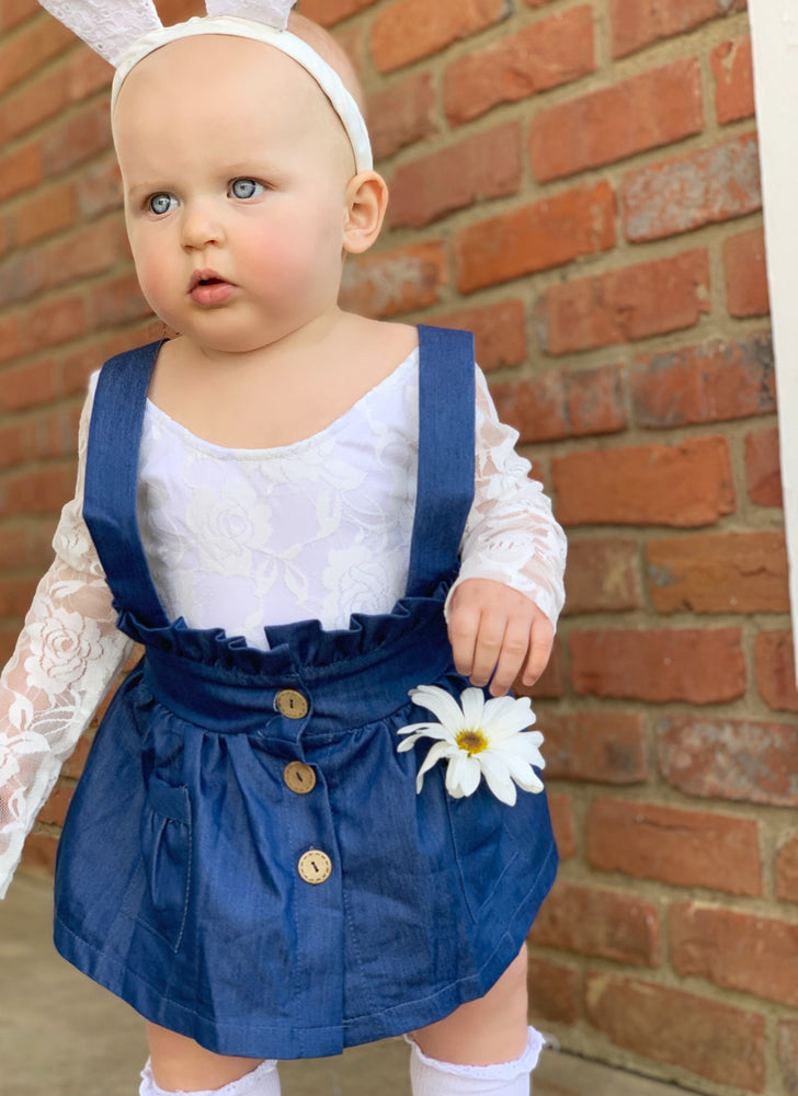 PRESLEY DENIM SUSPENDER SKIRT