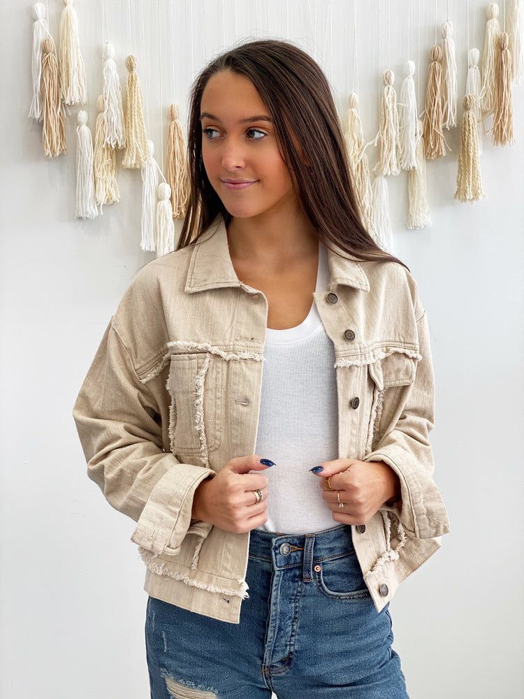Echo Denim Jacket- Beige