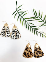 COWHIDE TRIANGLE EARRING