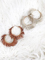LEATHER FRINGE HOOPS