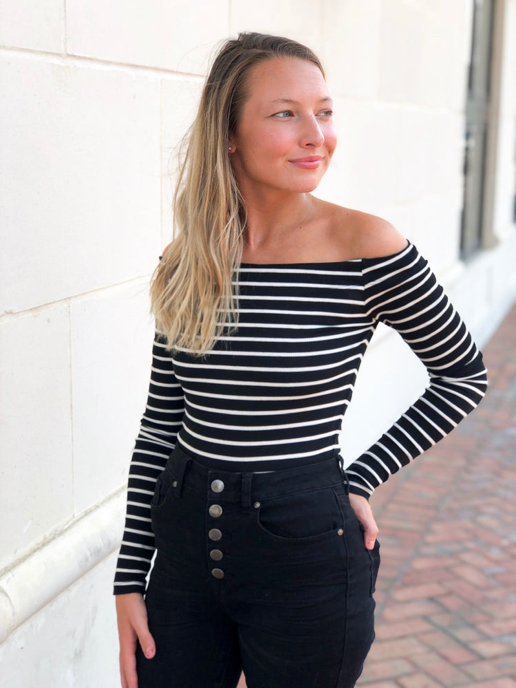THE STRIPE OFF SHOULDER TOP