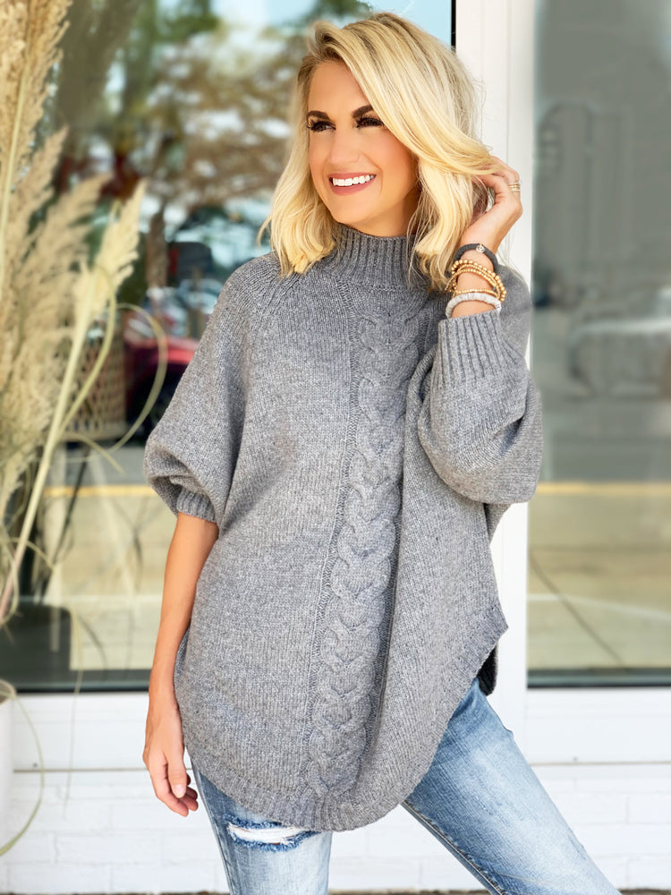 Repeat After Me Sweater- Grey