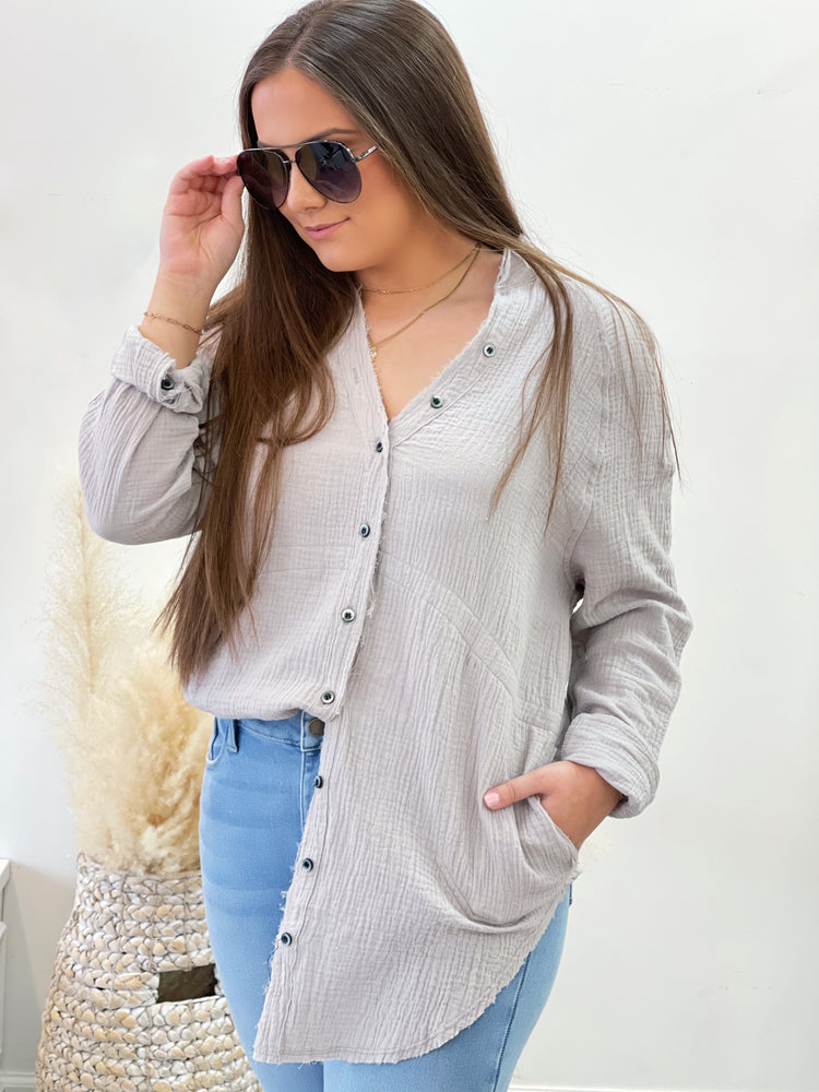 Hannah Button Down- Grey