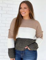 Abbie Color-Block Sweater - Taupe/ Green