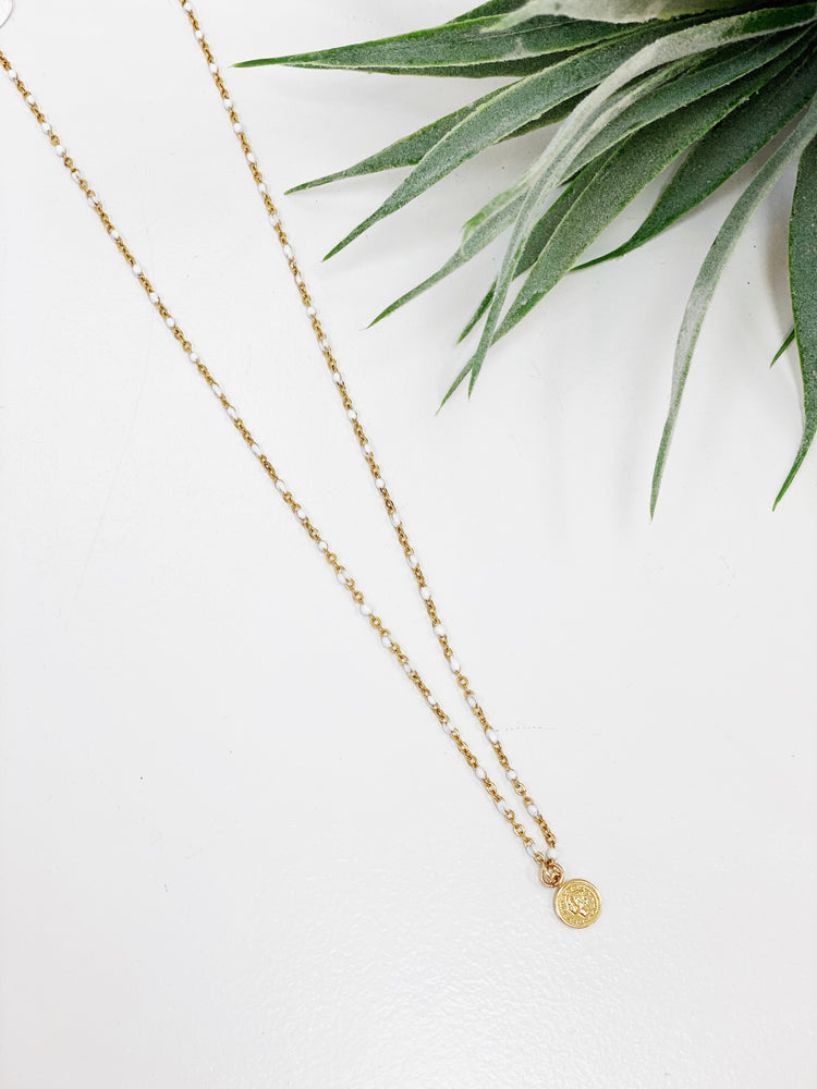 Tiny Gold Coin Beaded On White Chain