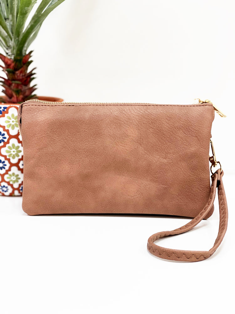 Riley Wristlet Crossbody- Rosewood